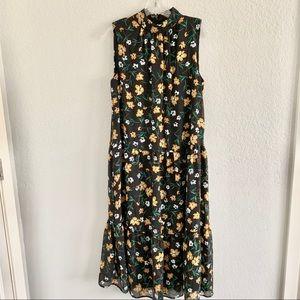 WHO WHAT WEAR tiered sleeveless midi dress